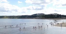Enjoying the sea at Scarborough
