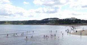 Enjoying the sea at Scarborough