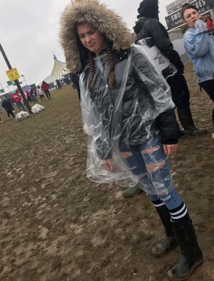 D attempting to keep warm and dry