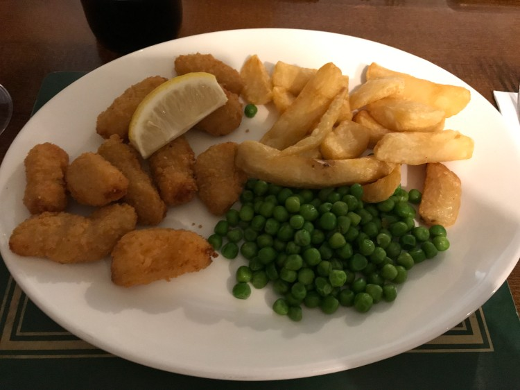 My Scampi and chips at the Fox