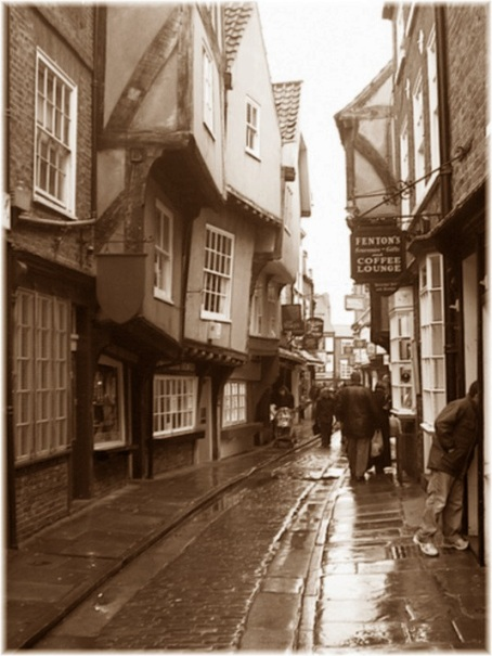 The shambles York in the rain Sepia