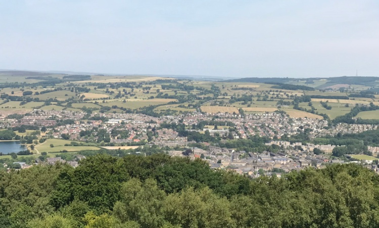 looking down on Otley from the Chevin