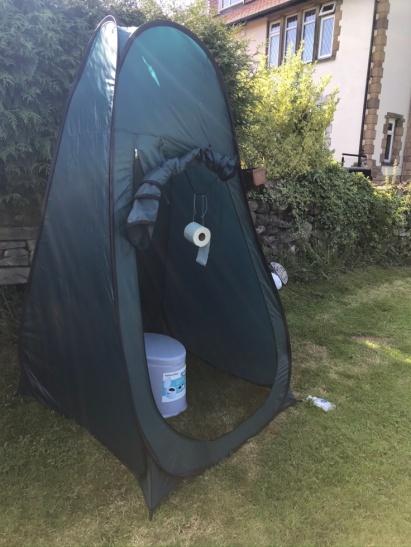 the toilet tent