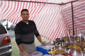 The Greek Olive and Cheese stall. Skipton Market.